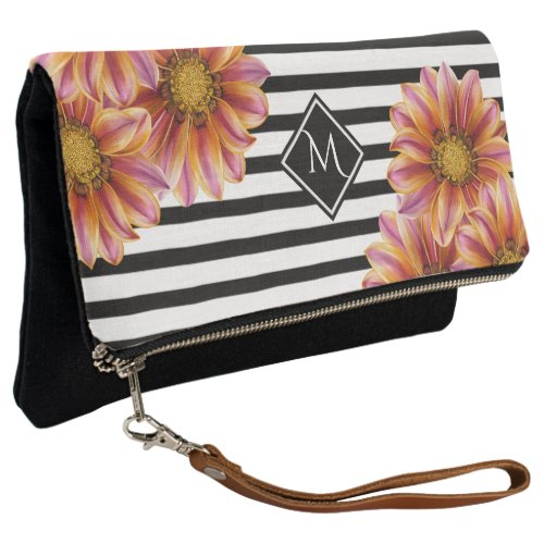 Orange Blossom Striped Monogram Clutch