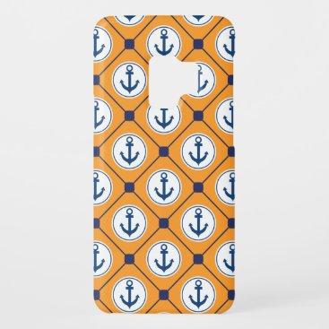 Orange Blue Nautical Anchor Pattern Case-Mate Samsung Galaxy S9 Case