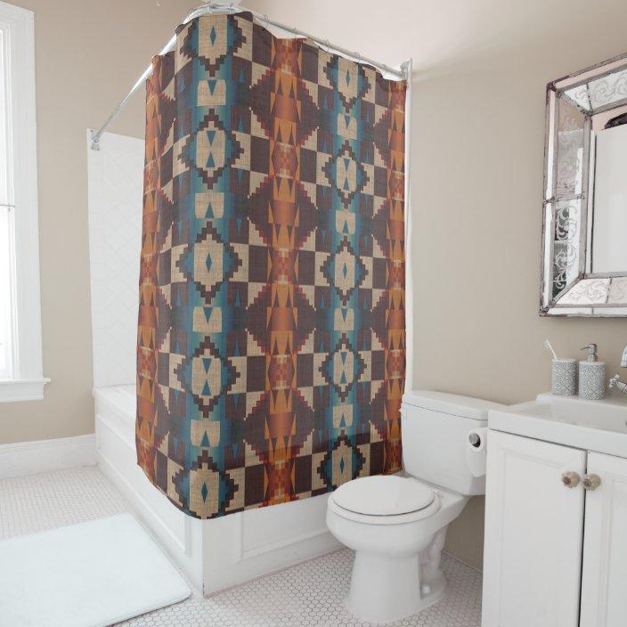 orange brown red teal blue tribal mosaic art shower curtain zazzle com