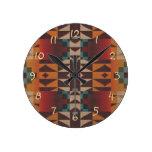 Orange Brown Red Teal Blue Tribal Mosaic Pattern Round Clocks