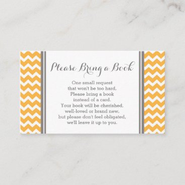 Orange Chevron Baby Shower Book Request Card