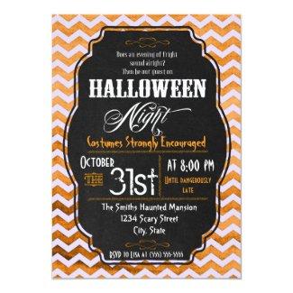 Orange Chevron Halloween Party Invitation