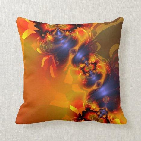 Orange Eyes Aglow – Gold & Violet Delight Throw Pillow