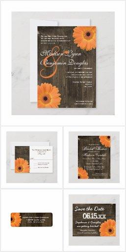 Orange Gerber Daisy Wood Wedding Invitation Set