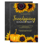 Orange Harvest Chalkboard  Friendsgiving Feast Invitation