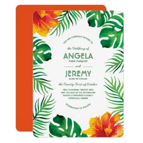 Orange Hibiscus and Tropical Leaves 2 Wedding Invitation