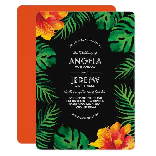 Orange Hibiscus and Tropical Leaves Wedding Invitation