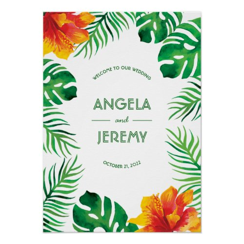 Orange Hibiscus and Tropical Leaves Wedding Poster