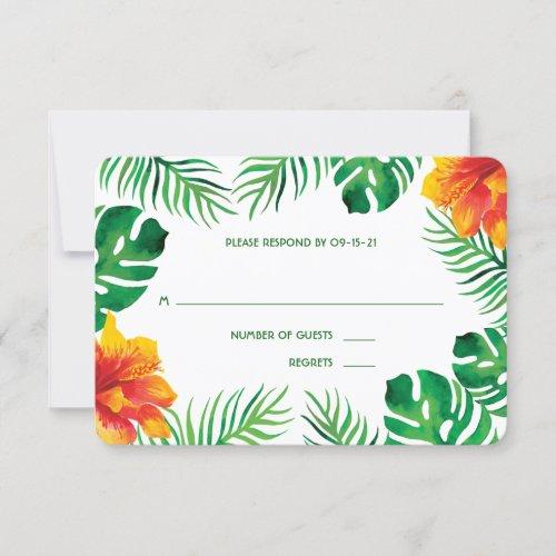 Orange Hibiscus and Tropical Leaves Wedding RSVP Card