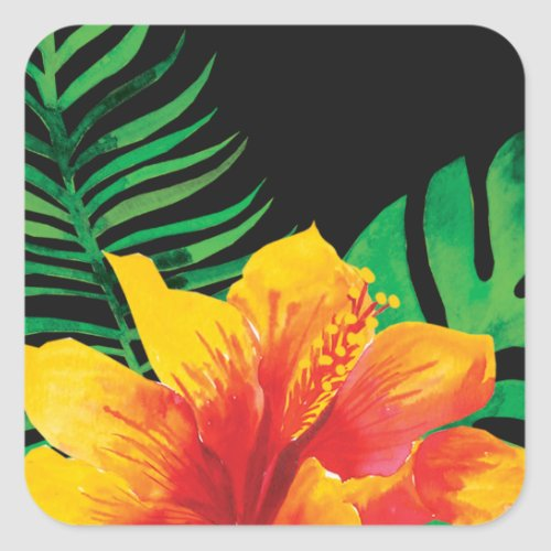 Orange Hibiscus Flower and Tropical Leaves Square Sticker