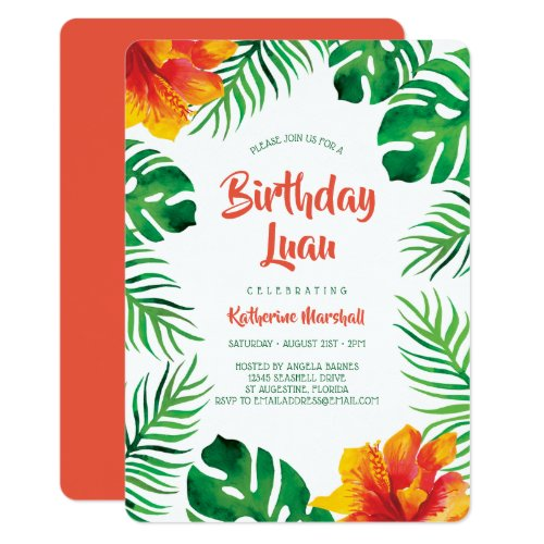 Orange Hibiscus Tropical Leaves Birthday Luau Invitation