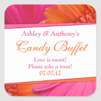 Orange Pink Gerbera Daisy Floral Candy Buffet Stickers
