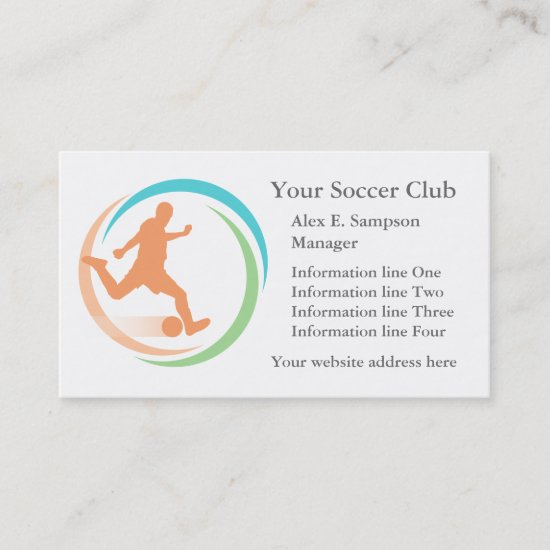 Orange Soccer Circle Logo Business Template Business Card