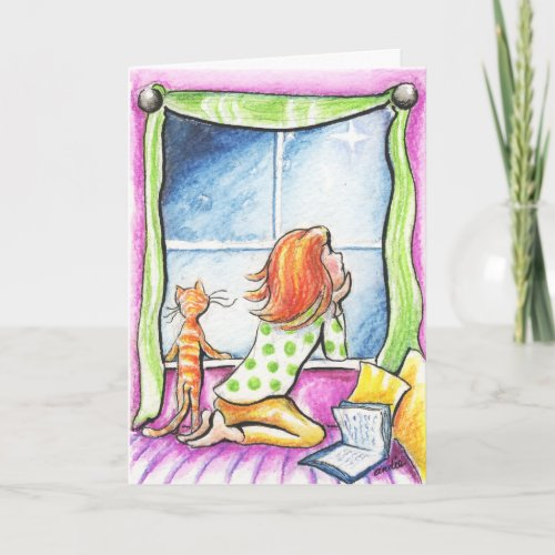 Orange Tabby Cat n Girl Custom Message Card