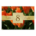 Orange Tulips & Gold Table Number Folded Card