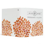Orange Watercolor Dahlias Wedding Planner Binder