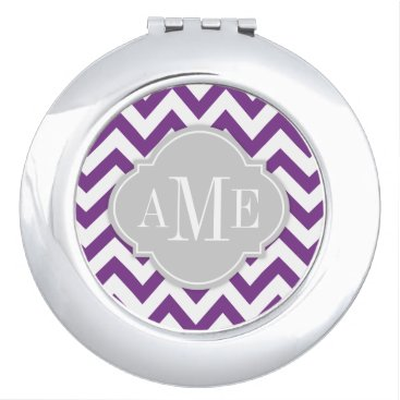 Orchid Purple and White Chevron with Monogram Compact Mirror