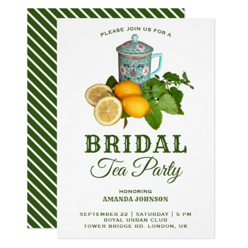 Oriental Lemon Tea Party Bridal Shower Invitation