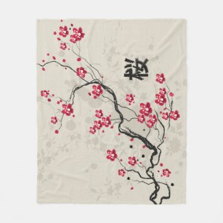 Oriental Style Sakura Cherry Blossom Art Fleece Blanket
