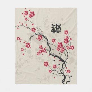 Oriental Style Sakura Cherry Blossom Art Fleece Blanket