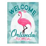 Orlando Florida Pink Flamingo - Vintage Retro Trav Postcard
