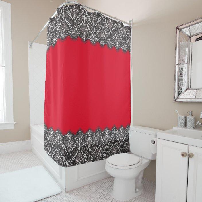 ornate black lace girly bathroom decor accessories shower curtain zazzle com