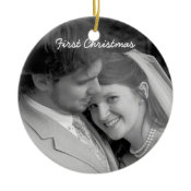 Our First Christmas Black Damask Photo Ornament