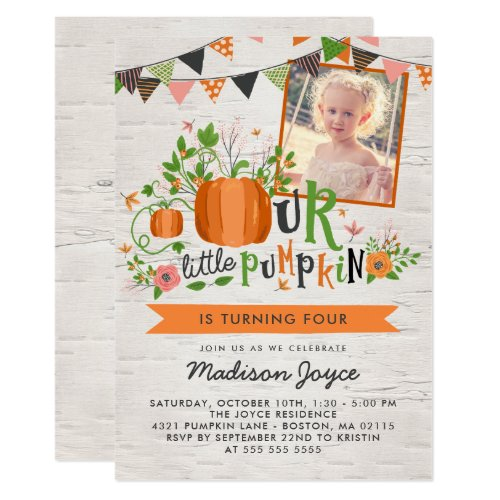 Our Little Pumpkin Kids Birthday Party Photo Invitation