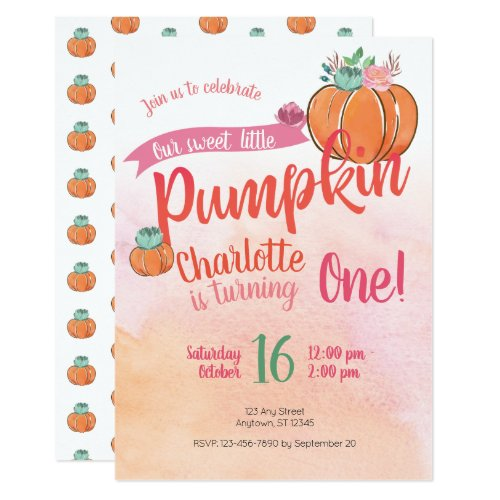 Our Sweet Little Pumpkin First Birthday Invite