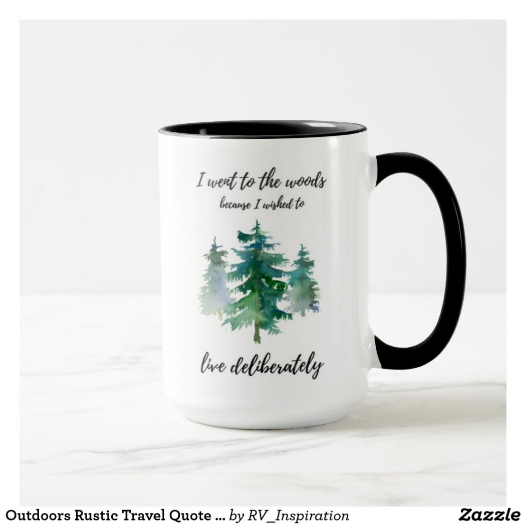 Outdoors Rustic Travel Quote Watercolor Coffee Mug