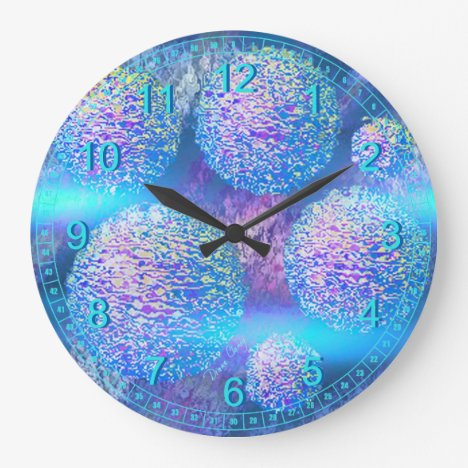 Outer Flow III  Abstract Fractal Aqua Azure Galaxy Large Clock