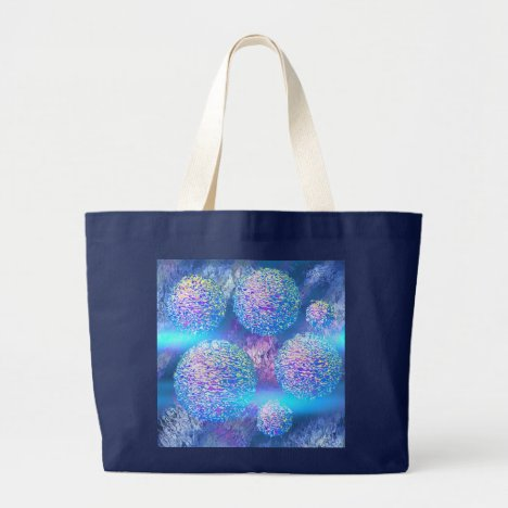 Outer Flow III  Abstract Fractal Cyan Azure Galaxy Large Tote Bag