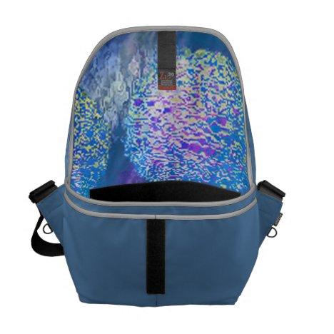 Outer Flow III  Abstract Fractal Cyan Azure Galaxy Messenger Bag