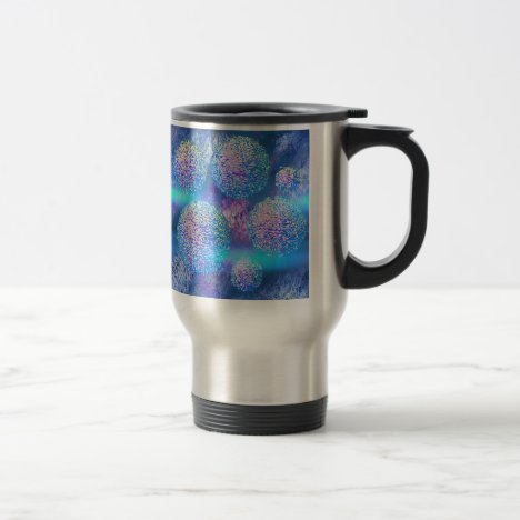 Outer Flow III  Abstract Fractal Cyan Azure Galaxy Travel Mug