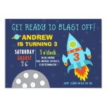 ❤️ Blue Rocket In Outer Space Birthday Invitation