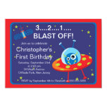 Outer Space Rocket Birthday Party Invitations