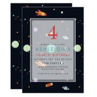 Outer Space Theme | Kids Birthday Party Card