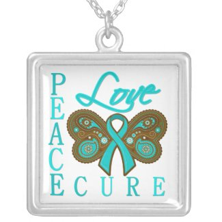 Ovarian Cancer Butterfly Peace Love Cure necklace