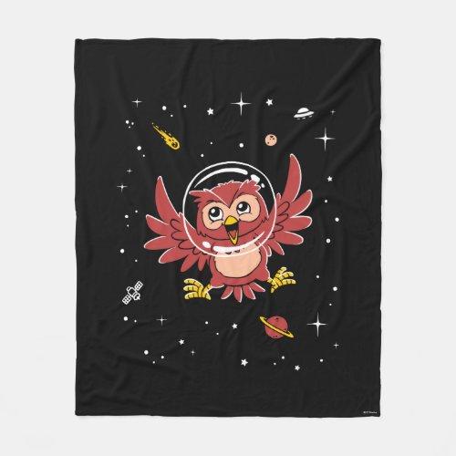 Owl Animals In Space Fleece Blanket
