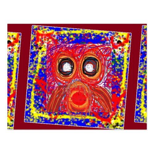 OWL Artistic Bird Prey Colorful Red GIFTS Greeting Postcard
