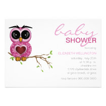 Owl Baby Shower Invitation | pink