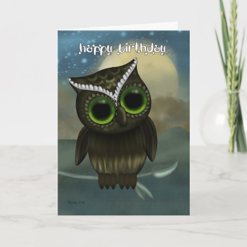 Owl Birthday Greeting Card, Fantasy Night Owl Card