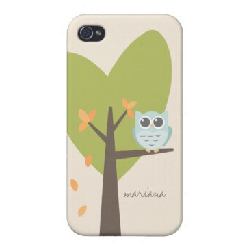 Owl Cartoon Personalized Name Tree Branch Leaves Case For iPhone 4