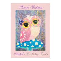 Owl Fairy Princess Sweet Sixteen Birthday Party Card