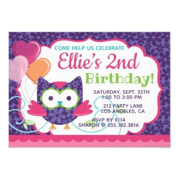 Owl Pal Girl's Birthday Party Invitation