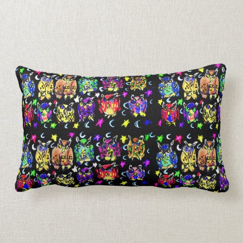 Owl Stars moons Lumbar Pillow