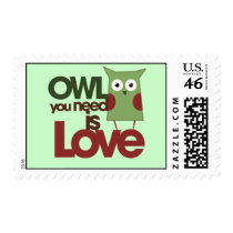 Owl you need is love postage stamp