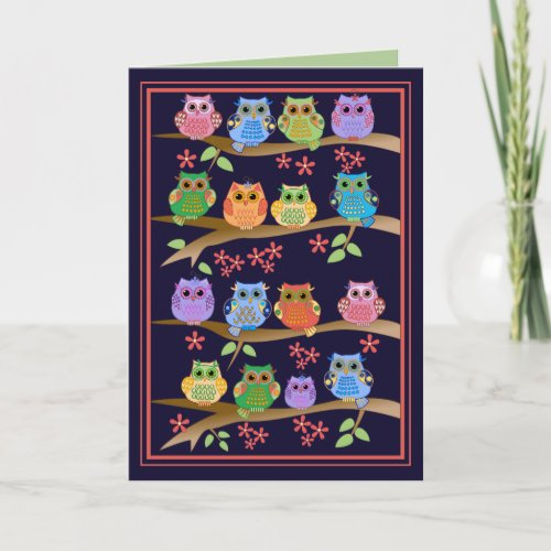 Owls on branches cute text Birthday card