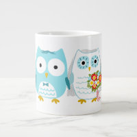 Owls Wedding Bride and Groom Large Coffee Mug