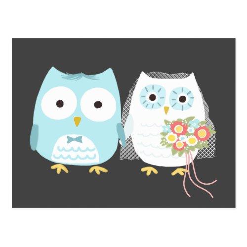 Owls Wedding Bride and Groom Postcard